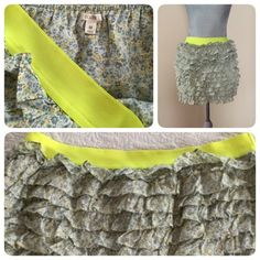 J. Crew ruffled skirt!  Adorable J. Crew short ruffled floral skirt, elastic neon waistband, worn only a couple of times. Sz M. ❌trades J. Crew Skirts