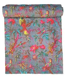 Bird Print King Size Kantha Quilt Gray , Kantha Blanket, Bed Cover, King Kantha bedspread, Bohemian Bedding Kantha Size 90 Inch x 108 Inch - http://aluxurybed.com/product/bird-print-king-size-kantha-quilt-gray-kantha-blanket-bed-cover-king-kantha-bedspread-bohemian-bedding-kantha-size-90-inch-x-108-inch/