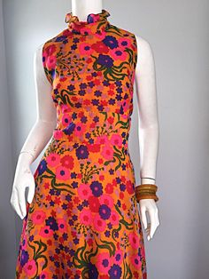 Amazing 1970s 70s Colorful Psychedelic Chiffon Floral Ruffle Vintage Maxi Dress 3