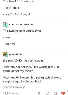 "Relatable ADHD Memes For The Afflicted And In-The-Know - Funny memes that ""GET IT"" and want you to too. Get the latest funniest memes and keep up what is going on in the meme-o-sphere. Infp, Types Of Adhd, Adhd Funny, Adhd Humor, Gym Humor, Adhd Brain, The Afflicted, Adhd And Autism, Thoughts"