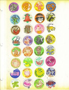 Smelly Stickers.  This is sheer awesomeness here. #80's  You would bring your albums full of stickers to school and trade with friends.  Hopefully they would still stick after you removed them from the old photo album pages.  So great.