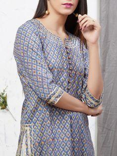 Simple Kurti Designs, New Kurti Designs, Kurta Designs Women, Kurti Designs Party Wear, Neck Designs For Suits, Dress Neck Designs, Designs For Dresses, Pakistani Dresses Casual, Pakistani Dress Design