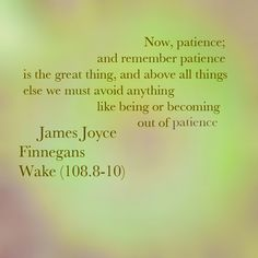 """James Joyce - Finnegans Wake (108.8-10): """"Now, patience; and remember patience is the great thing, and above all things else we must avoid anything like being or becoming out of patience."""""""