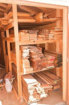 """Need some ideas for an outdoor lumber storage """"shed"""" Lumber Storage Rack, Lumber Rack, Barn Storage, Wood Rack, Storage Shed Plans, Workshop Storage, Built In Storage, Tool Storage, Storage Ideas"""