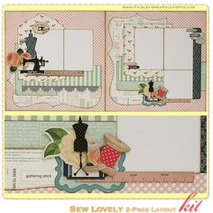 Sew Lovely 2-Page Scrapbook Layout Kit, complete with instructions, by PaisleysandPolkaDots.com for a limited time featured at www.scrapclub...