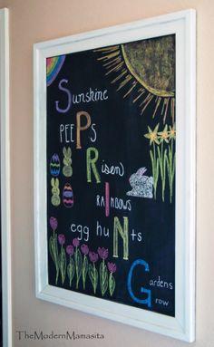 Spring Chalkboard Idea | Easter décor idea | Spring Time