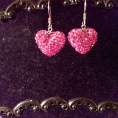 Austrian Crystal Earrings Gorgeous Heart Shaped Austrian Crystal Earrings with .925 Sterling Silver Wire Posts. Just in time for Valentine's Day!! Jewelry Earrings