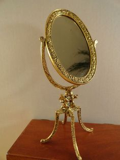 VTG Retro Gold Metal Boudoir Cherub Angel Table Vanity Mirror