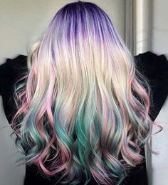 21 Unicorn Hair Color Ideas We're Obsessed With Cute Hair Colors, Beautiful Hair Color, Cool Hair Color, Hair Colours, Hair Tips Video, Unicorn Hair Color, Pulp Riot Hair Color, Princess Hairstyles, Rainbow Hair