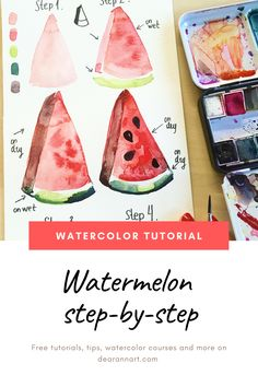Painting For Beginners: Watermelon Tutorial In this watercolor tutorial, you will learn how to paint a watermelon with watercolor. Click the image or link above to see the full art tutorial. Watercolor Beginner, Watercolor Paintings For Beginners, Watercolor Art Lessons, Watercolor Fruit, Easy Watercolor, Watercolour Tutorials, Watercolor Techniques, Watercolour Painting, Watercolor Illustration Tutorial