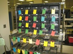 Visual Tooling Board. Green= ready, Yellow=in use at station, Red= Need Repairs, Blue= Available (repair done). Benefit tooling is never lost and status is easily determined so you never run out of good tools.