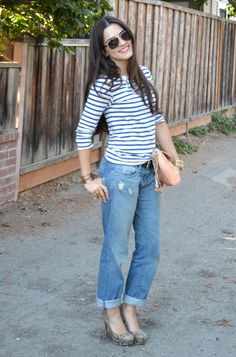 striped tee//boyfriend jeans//python-printed pumps//rebecca minkoff bag//tory burch aviators {via Kitties + Couture}