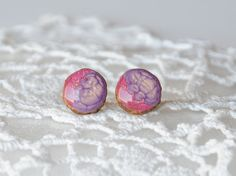 Hand painted blush pink earrings with purple by MyPieceOfWood, $17.00