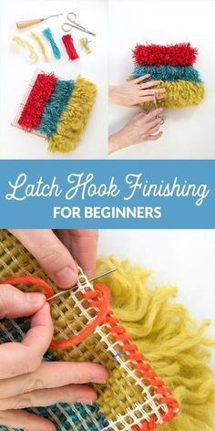 You've mastered latch hook basics, and now it's time to make your project to a finished handmade masterpiece! Learn basic latch hook project finishing with this easy tutorial. Pom Pom Crafts, Yarn Crafts, Diy Crafts, Locker Hooking, Rug Hooking, Pom Pom Rug, Latch Hook Rugs, Fabric Rug, Creations