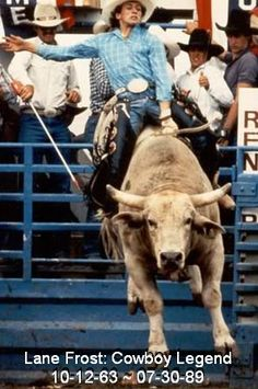 Champ bull rider Lane Frost became the first cowboy to ride Red Rock to the bell. In the previous 8 years, 312 cowboys had tried unsuccessfully to ride the rodeo circuit's toughest bull. I love Lane Frost Rodeo Cowboys, Real Cowboys, Hot Cowboys, Barrel Racing, Lane Frost, Cowboys And Angels, Rodeo Time, Bucking Bulls, Into The West