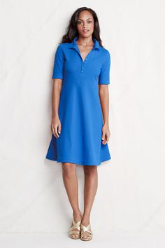 Women's Elbow Sleeve Fit Flare Polo Dress from Lands' End    Love the flared skirt on this.