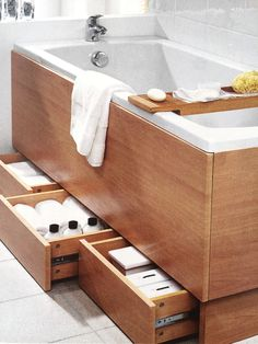 33 Inspiring Storage Ideas For Small Spaces To Maximize Your Home - If you live in a small space, what is it that you wish you had more of? We all know that storage in small spaces can be a challenge, but ther. Bath Panel Storage, Bathtub Storage, Small Bathroom Storage, Laundry In Bathroom, Budget Bathroom, Bathroom Organization, Master Bathroom, Bathroom Styling, Small Space Storage