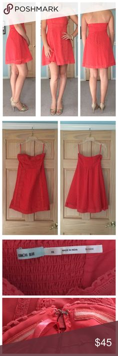 XS STRAPLESS CORAL LACE EMBROIDERED DRESS Brand/Designer: Kimchi Blue                                          Condition: very good, worn once                            I love the color of this dress! My sister wore it for Easter a few years ago and we haven't gotten much use out of it since then, so it's still in great shape! Size is extra small but it fits size 2&4. Hook and eye clasp still intact above zipper on side. Dresses Strapless