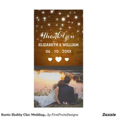 Rustic Shabby Chic Wedding Thank You Photo Card This shabby chic style thank you card is charming but simple. It has just the right combination of elegant and casual, with a touch of sweet ol' farmyard charm. Customize the text, and add your own photo. It's original, and uniquely your own - just the way to show your friends and family how grateful you are for them. So go on: add that crowning final touch to your wedding day, and send your sweetest and sincerest thanks!