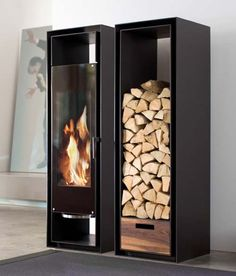 Not exactly the fireplace of yesteryear, this unique cabinet fireplace come with a matching wood storage cabinet from Conmoto. These built-in cabinets combine wood fireplace and storage with brushed stainless steel, Not sure where the smoke goes, though.