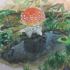 A little mushroom and a puddle 🍄 💧, Me, Watercolor and gouche, 2020 : Art Illustration Inspiration, Illustration Art, Pretty Art, Cute Art, Arte Peculiar, Arte Indie, Mushroom Art, Mushroom Drawing, Hippie Art