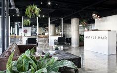 industrial hair salon, instyle hair new look, rustic hair salon ideas, industrial hair salon ideas