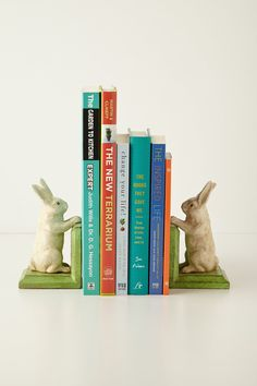 Handpainted Bunny Bookends - Anthropologie.com. I think I need these please.