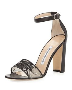 Lauratop Lace & Leather Chunky-Heel Sandal, Black by Manolo Blahnik at Bergdorf Goodman.