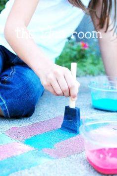 Sidewalk Chalk Paint Recipe- make it yourself! via Amy Huntley (theidearoom.net)