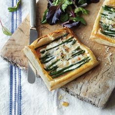 This simple and tasty asparagus tart recipe uses shop bought puff pastry and tangy taleggio cheese for a simple supper for two.