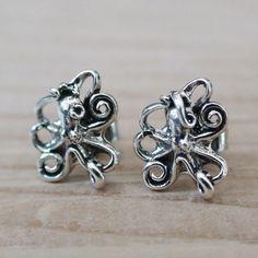 Octopus Earrings - 925 Sterling Silver Octopus Stud Earrings - Beach Ocean *NEW* #FashionJunkie4Life #PostEarrings