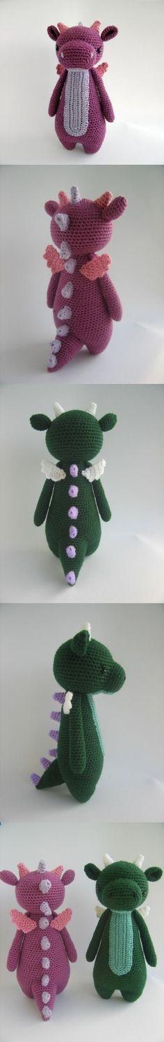 Tall Dragon With Spikes Amigurumi Pattern by Little Bear Crochet #crochetbear