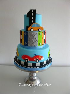Birthday cake for little boy who loves cars and being outside