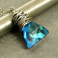 eCrystal Triangle Necklace, Blue Crystal Necklace, Pendant Necklace, Eco Friendly Jewelry, Wire Wrap Jewelry, Gifts for Her, Holiday Jewelry by adorned7 on Etsy