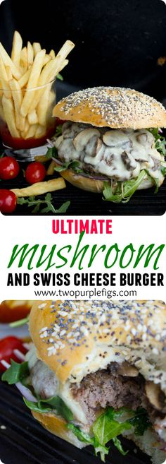 Mushroom Swiss Burger - that's a juicy beef patty topped with sauteed cremini mu. - Mushroom Swiss Burger – that's a juicy beef patty topped with sauteed cremini mushrooms and a l - Bun Burger, Burger Bar, Gourmet Burgers, Good Burger, Cheese Burger, Beef Burgers, Veggie Burgers, Fast Food Burger Recipe, Mushroom Swiss Burger