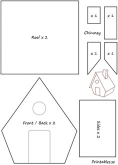 Template for gingerbread house 1 | Free printable for Christmas