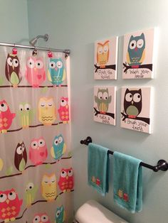 Kids Owl Bathroom Art :: Hometalk switch to something besides an owl, tho? maybe each a different colored bird