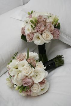 #wedding bouquet of roses, freesias and ranunculas