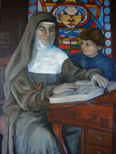 Mary Mackillop | Mary MacKillop with orphan, church painting by C Slater