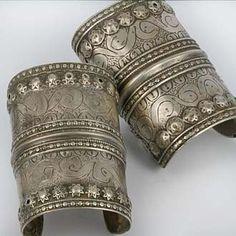 Antique Silver Bracelets From Balochistan Gold And Silver Bracelets, Silver Hoop Earrings, Silver Necklaces, Sterling Silver Jewelry, Silver Jewellery, Pagan Jewelry, Tribal Jewelry, Jewelry Gifts, Tribal Bracelets