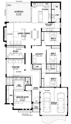 Semara - Lot 94 Egerton Drive floorplan Changes to theatre and WIL and laundry Best House Plans, Dream House Plans, House Floor Plans, My Dream Home, Home Design Floor Plans, Plan Design, The Plan, How To Plan, Detail Architecture