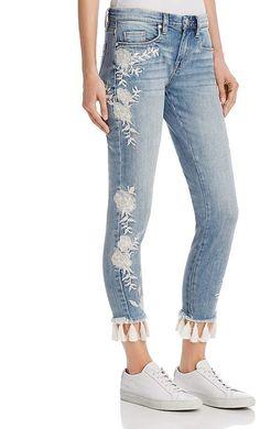 BLANKNYC Embroidered Tassel-Hem Skinny Jeans in Blue - 100% Exclusive