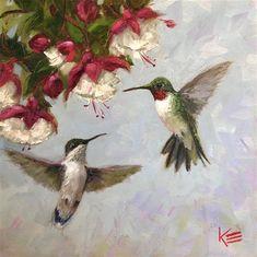 Krista Eaton Gallery of Original Fine Art Red Hummingbird, Hummingbird Tattoo, Fine Art Gallery, Oil On Canvas, Tattoo Designs, The Originals, Animals, Animales, Art Gallery