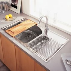love this oversized sink with drainer on the side - American Kitchen Sink