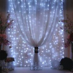 Fairy string lights sheer curtains window *doesn't have to be so many strings. Soft and different.
