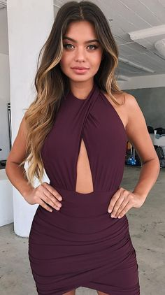 #summer #outfits Purple Cut-out Bandage Dress
