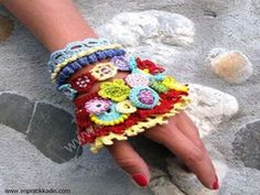 Freeform crochet Jewelry / Bracelet Cuff Colorful / by kovale, Freeform Crochet, Crochet Shawl, Hand Crochet, Crochet Mittens, Crochet Gloves, Tatting Jewelry, Crochet Bracelet, Handmade Accessories, Crochet Projects