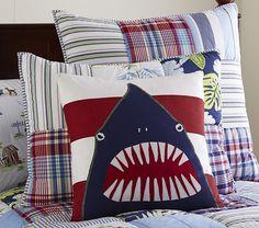 Shark Pillow striped or chevron shark pillow toss pillow beachpunkeymonkey