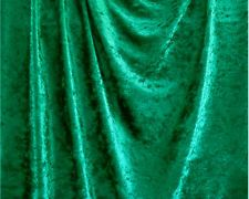 """$4.39 yd.   Emerald Green Crushed Panne Velour Velvet 2 Way Stretch Fabric 58""""W By Yard"""