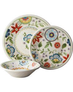 Threshold 12 Piece Roped Vasaio Floral Dinnerware Set